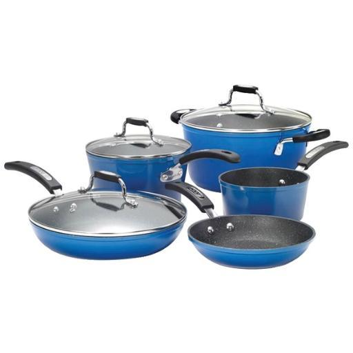The rock by starfrit 034613-001-0000 the rock(tm) by starfrit(r) 8-piece cookware set with bakelite(r) handles (blue)