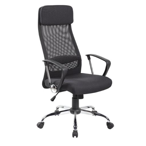 High-back Mesh & Fabric Executive & Managerial Computer Desk Swivel Office Chair with High-Quality Abric Upholstery Headrest & Seat, Black
