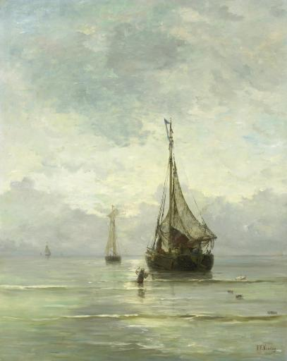 Calm Sea, By Hendrik Willem Mesdag, 1860-1900, Dutch Painting, Oil On Canvas. Fishing Boats Approaching Beach As A Wading Man Carries An Anchor.