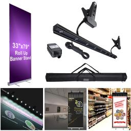 "Portable Aluminum 33x79"" Retractable Roll Up Banner Stand LED Light Kit with Bag Trade Show Signage Display Promotion"