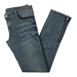 Blue Star Womens Whisker Wash Low Rise Straight Leg Jeans
