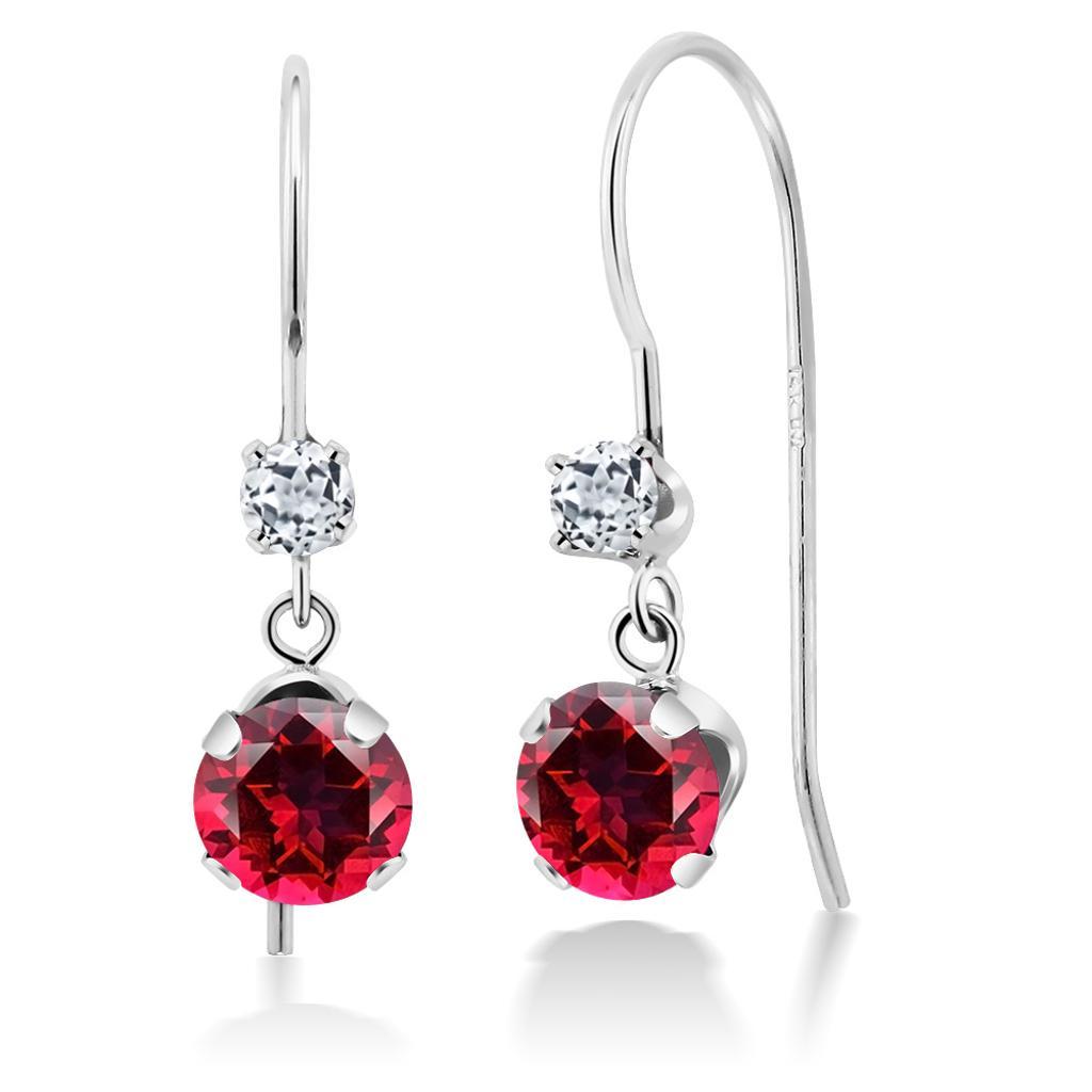 14K White Gold Earrings Topaz Set with Round Blazing Red Topaz from Swarovski