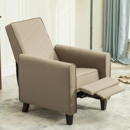 Belleze Modern Recliner Club Chair Accent Living Room Linen w/ Footrest, Taupe