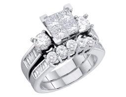 4/5 Carat (ctw H-I, I2-I3) Princess Cut Diamond Engagement Ring & Wedding Band Set in 10K White Gold