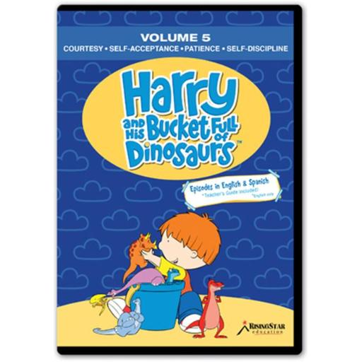 Rising Star Education HBD005 Harry & His Bucket Full of Dinosaurs- Vol. 5 - Courtesy- Self-Acceptance- Patience- Self-Discipline- DVD