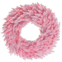 Vickerman K163825LED Pink Fir Dural-Lit Wreath with Pink LED Lights, 24 in.