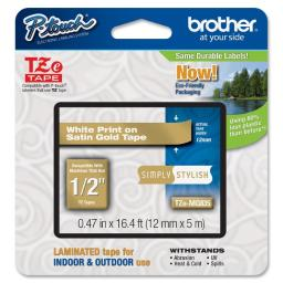 Brother international corporat tzemq835 white on satin gold