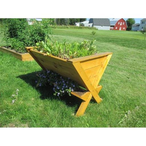 Infinite Cedar Wedge Table Raised Planter, Wood