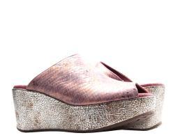 Chocolat Blu Yiona Pony Peep Toe Wedge Purple Gold Snake Print Women's Sandal