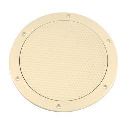 Beckson 6&Quot; Non-Skid Screw Out Deck Plate Beige 6.5&Quot; Cutout
