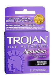 Trojan Her Pleasure Sensations Lubricated Premium Latex Condoms - 3ct CH97320