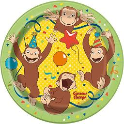 """Curious George Round 7"""" Dessert Plates, 8 Count Birthday Party Supplies"""