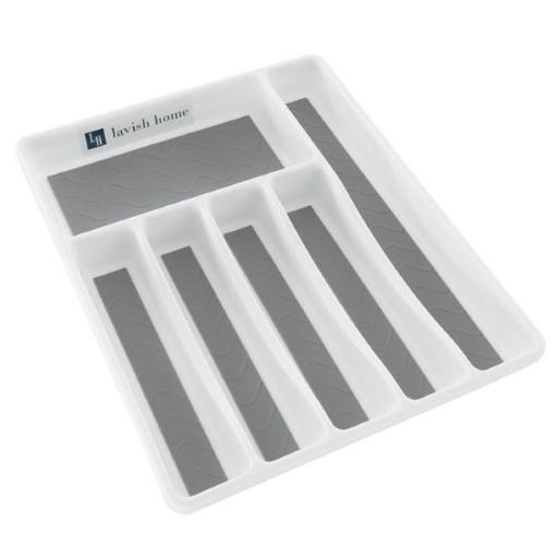 Lavish Home M050050 Silverware Drawer Organizer with Six Sections & Nonslip Tray Flatware, Utensil & Cutlery Kitchen Divider