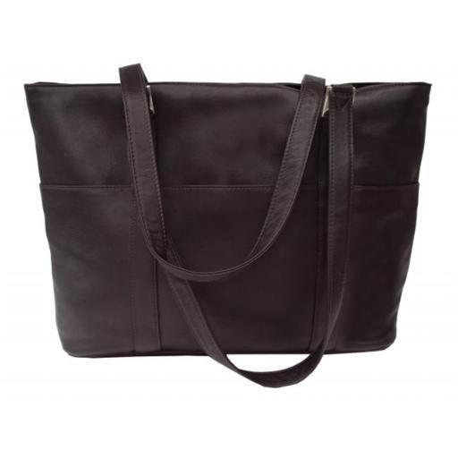 Piel 2470-CHC Chocolate 15In Laptop Shopping Bag 3F2F43CC6F649547