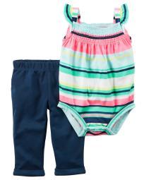 Carter's Baby Girls' 2 Piece Bodysuit Pant Set, 3 Months