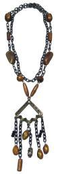 Burnished Brass Orange Bead Drop Fashion Necklace