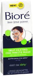 Biore Self Heating One Minute Mask - 4 Pack, Pack Of 2