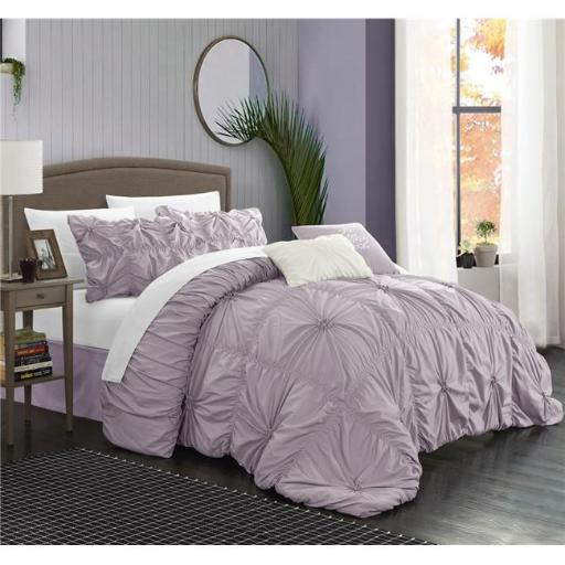 Chic Home CS1441-BIB-US 10 Piece Ramanda Floral Pinch Pleat Ruffled Designer Embellished Queen Comforter Set, Lavender with Sheet Set