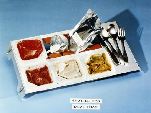 Space: Food Tray, 1982. /Nfood Tray Containing Smoked Turkey, Mixed Vegetables, Strawberries And Cream Of Mushroom Soup, Prepared For Astronauts.