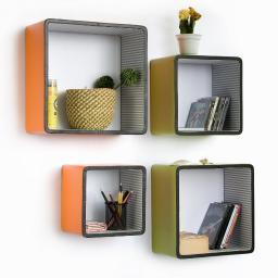 Vibrant SpringSquare Leather Wall Shelf / Bookshelf / Floating Shelf(Set of 4)