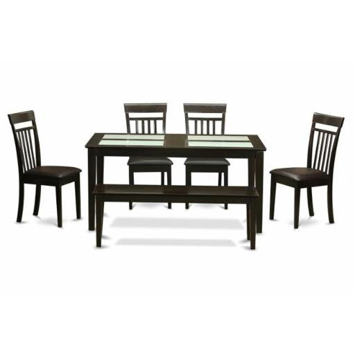 East West Furniture CAP6G-CAP-LC 6 Piece Kitchen Table With Bench-Glass Top Table and 4 Kitchen Chairs Plus Bench