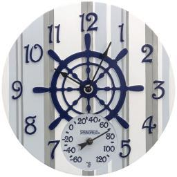 SPRINGFIELD 92668 14 Poly Resin Clock with Thermometer (Captain's Wheel)