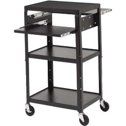 Bretford a2642dns-e5 adjustable av cart with two slide out accessory shelves 5in wheels. black. 6 out