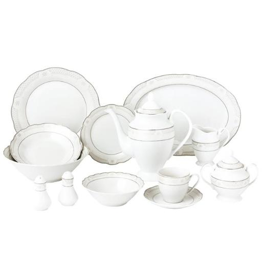 Lorenzo Import Atara-57 57 Piece Wavy Dinnerware Set & Porcelain China Service for 8 People - Atara