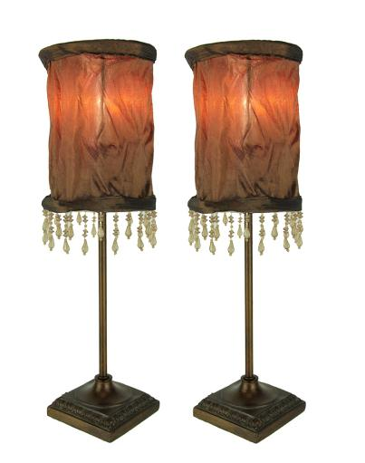 Vintage Style Accent Lamp with Brown Beaded Fringe Fabric Shade Set of 2