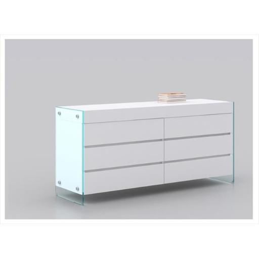 Casabianca Furniture CB-111-D-WH Il Vetro Dresser - White Lacquered High Gloss