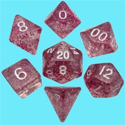 Metallic Dice Games LIC4208 Mini Polyhedral 7 Dice Set Ethereal Light Purple with White Numbers Rpg Game, 10 mm