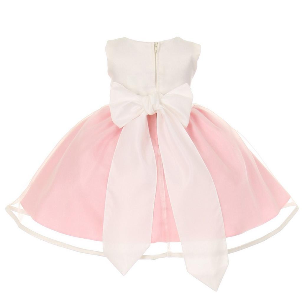 933bffdde59 Cinderella Couture Cinderella Couture Baby Girls Pink Ivory Satin Organza  Bow Headband Dress 6-24M