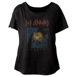 Def Leppard Music Faded Pyromania Ladies Short Sleeve Shirt