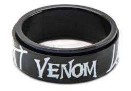 Marvel Mens Spider-Man Venom Stainless Steel Black PVD Plated Spinner Ring