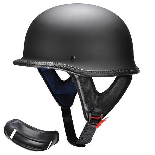 Yescom DOT German Style Motorcycle Half Helmet Open Face Cruiser Chopper Biker Skull Cap Helmet Black M 2UCWIAGU7UEAOTBE