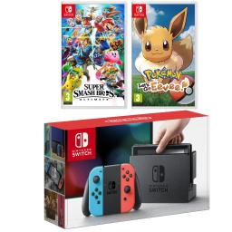 Nintendo Switch Console with Neon Blue/Red Joycon Controllers, Super Smash Bros and Pokemon Lets Go, Eevee!