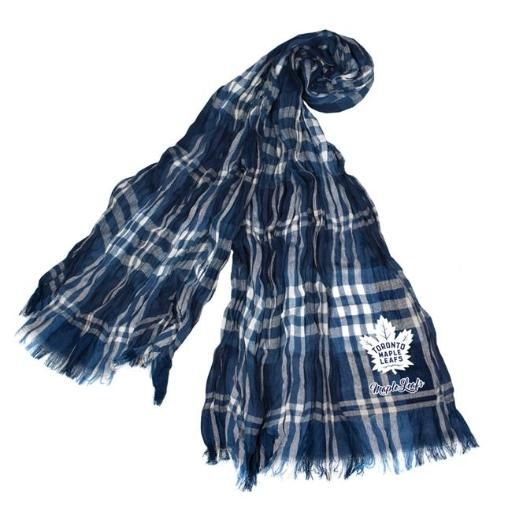 Little Earth 500658-LEAF-NVGRY NHL Toronto Maple Leafs Plaid Crinkle Scarf - Navy & Gray