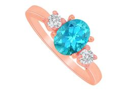 Blue Topaz and CZ Three Stones Ring in 14K Rose Gold