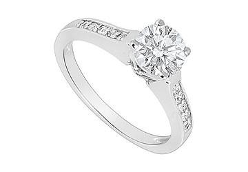 14K White Gold Engagement Ring of Triple AAA Quality CZ 0.75 Carat Total Gem Weight