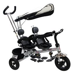 4 In 1 Twins Baby Tricycle with Safety Double Rotatable Seat