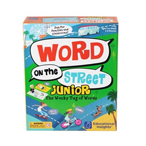 Educational Insights Word on the Street Junior Easy-to-learn and fun-to-play word game helps to develop vocabulary skills, creative thinking skills, and encourages teamwork*Includes game board, 26 letter tiles, 108 category cards (216 categories), card holder, 30-second sand timer and game guide*Place all letters in the center of the board. Flip the timer-that player has 30 secondsto come up with an answer-in the category!*Player moves the tiles found in the answer 1 space at a time toward their side of the street. The first player or team to claim 8 letter tiles wins!*Perfect for 2 players or teams!