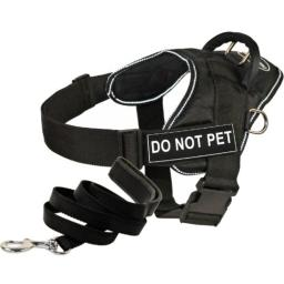 """Dean and Tyler Bundle - One """"DT Fun Works"""" Harness, Do Not Pet, Reflective, XXS (18"""" - 22"""") + One """"Padded Puppy"""" Leash, 6 FT Stainless Snap - Black"""