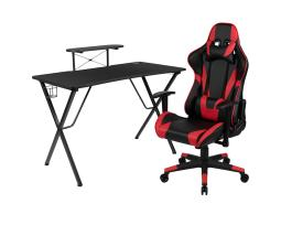 Offex Black Gaming Desk and Red/Black Reclining Gaming Chair Set with Cup Holder, Headphone Hook, and Monitor/Smartphone Stand