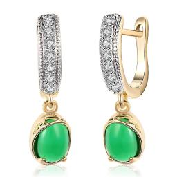 GreenStone Classic Resin Drop Earring in 18K Gold Plated