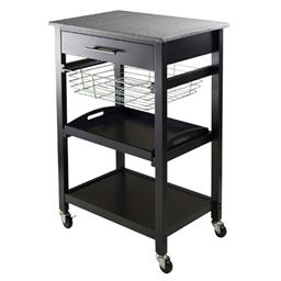 Winsome Granite Wood Julia Utility Cart - Black