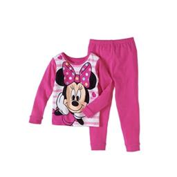 AME Little Girls Minnie Mouse 2 Piece Tight Fit Cotton Pajama Set (Minnie Mouse, 12M)