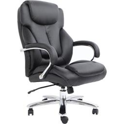Comfort Products Admiral III Big & Tall Executive Leather Chair, Black
