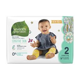 Seventh Generation Baby Diapers for Sensitive Skin, Animal Prints, Size 2, 36 Count (Packaging May Vary)