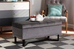Baxton Studio Esther Modern and Contemporary Grey Velvet Fabric Upholstered and Dark Brown Finished Wood Storage Ottoman