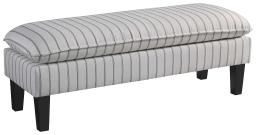 Wood and Fabric Accent Bench with Pillow Top Seat, White and Gray